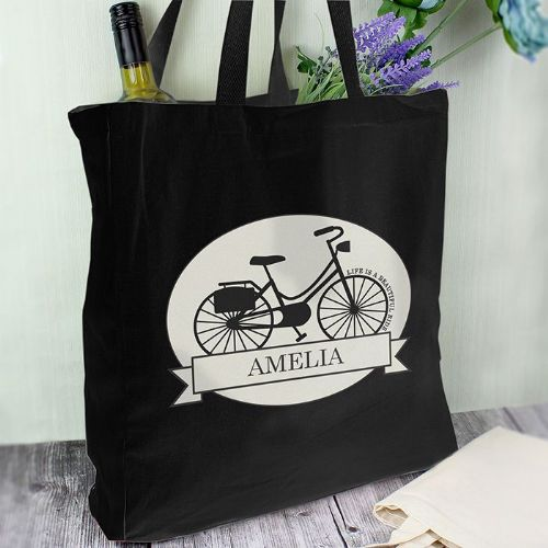 Personalised Vintage Bike Black Cotton Bag